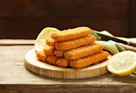 """<p>While these vegan fish sticks can't be purchased (yet) from your local Fish and Chips truck, they are readily available in grocery and health food stores. <a rel=""""nofollow noopener"""" href=""""https://gardein.com/products/golden-fishless-filet/"""" target=""""_blank"""" data-ylk=""""slk:Gardein golden fishless filets"""" class=""""link rapid-noclick-resp"""">Gardein golden fishless filets</a> are made with non-genetically engineered soybeans and wheat gluten, and include algal oil -- a plant source of Omega. They come frozen, so all you do is heat and serve with your favourite dipping sauce. They are delicious in tacos, on rice, or in sushi. <i>(Photo via Getty Images)</i> </p>"""