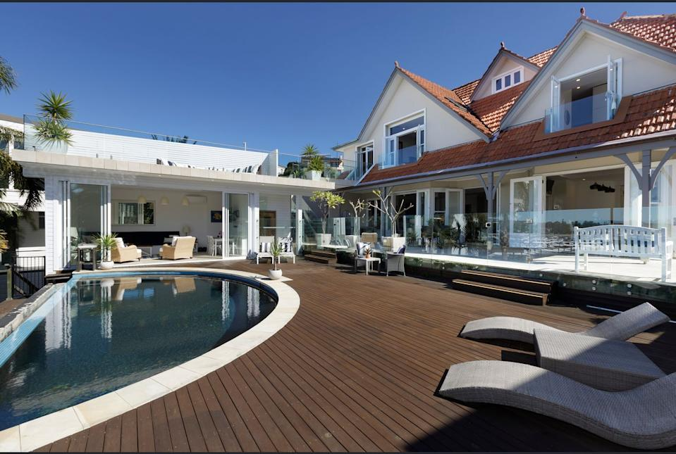 Deck and pool area of Mia Freedman's new Point Piper house