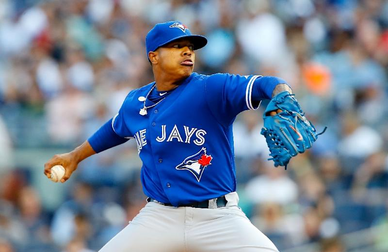 5d6db65083b Marcus Stroman of the Toronto Blue Jays pitches in the third inning against  the New York