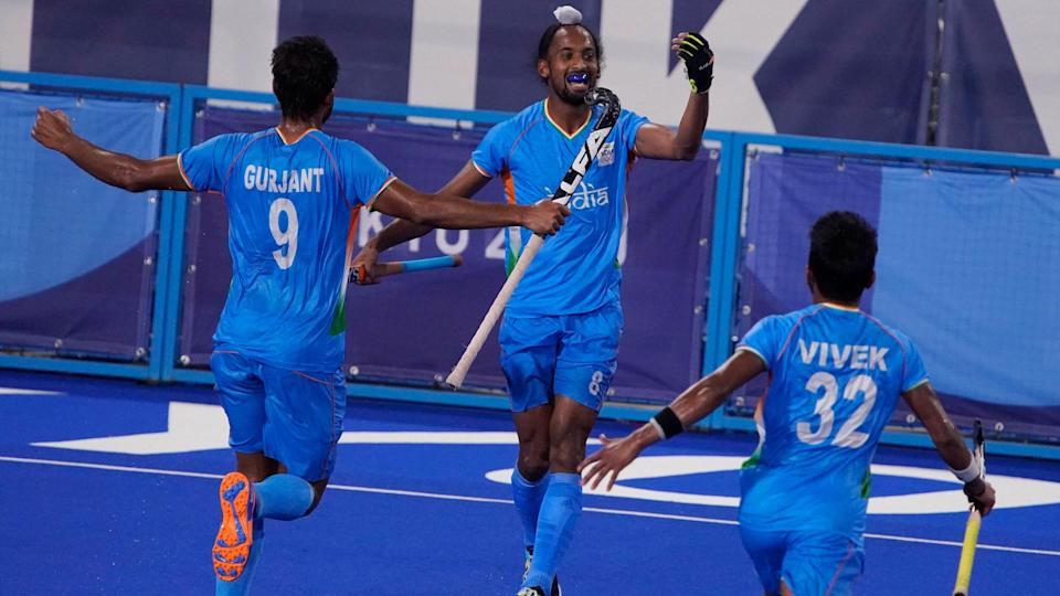 """<div class=""""paragraphs""""><p>Indian men's hockey team celebrate the QF win against GB at Tokyo Olympics. </p></div>"""