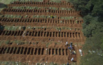 """Cemetery workers in protective clothing bury a person at the Vila Formosa cemetery in Sao Paulo, Brazil, Wednesday, April 1, 2020. Photographer Andre Penner said he was initially afraid of covering funerals because he feared he might get infected and bring the virus home to his family, so he used a drone. The effect though was two-fold: It kept him at a safe distance, but it also showed the vast scope of the burial field _ a reality that President Jair Bolsonaro denied when he appeared live on social media to call the photograph """"fake news."""" (AP Photo/Andre Penner)"""