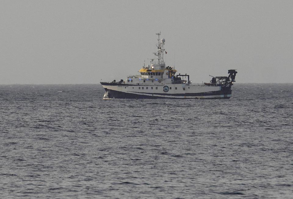 Spanish Oceanographic Institute vessel 'Angeles Alvarino' continues the search for one-year-old Anna Gimeno and her father, Tomas Gimeno, a few kilometers off the coast of Santa Cruz de Tenerife, the Canaries, Spain.
