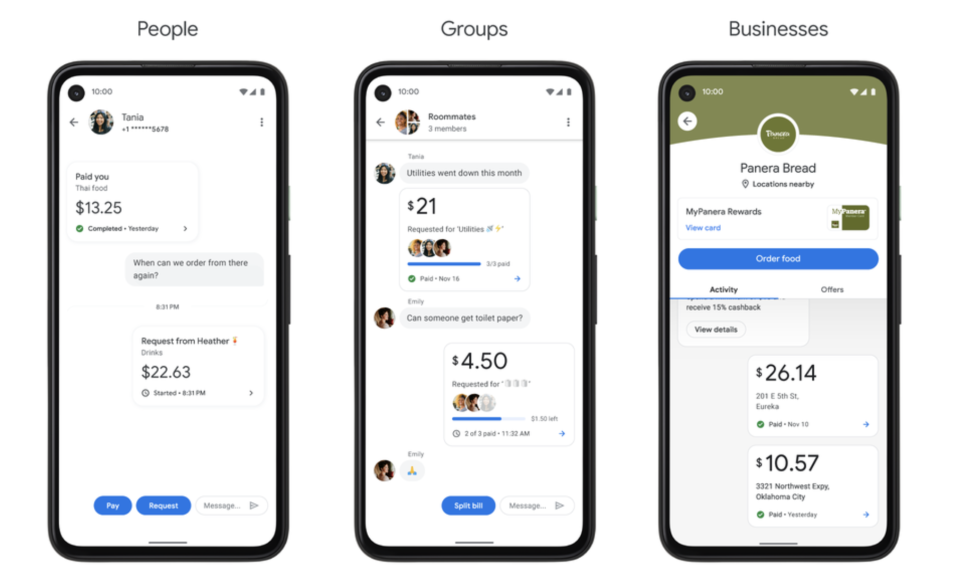 Google Pay app screens (via Google)
