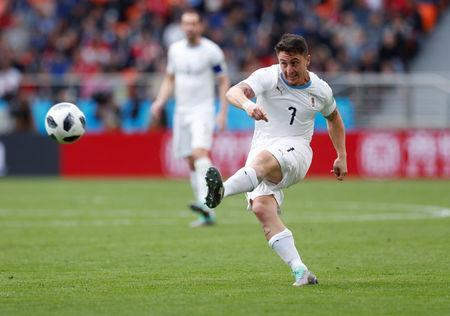 Soccer Football - World Cup - Group A - Egypt vs Uruguay - Ekaterinburg Arena, Yekaterinburg, Russia - June 15, 2018 Uruguay's Cristian Rodriguez in action REUTERS/Andrew Couldridge