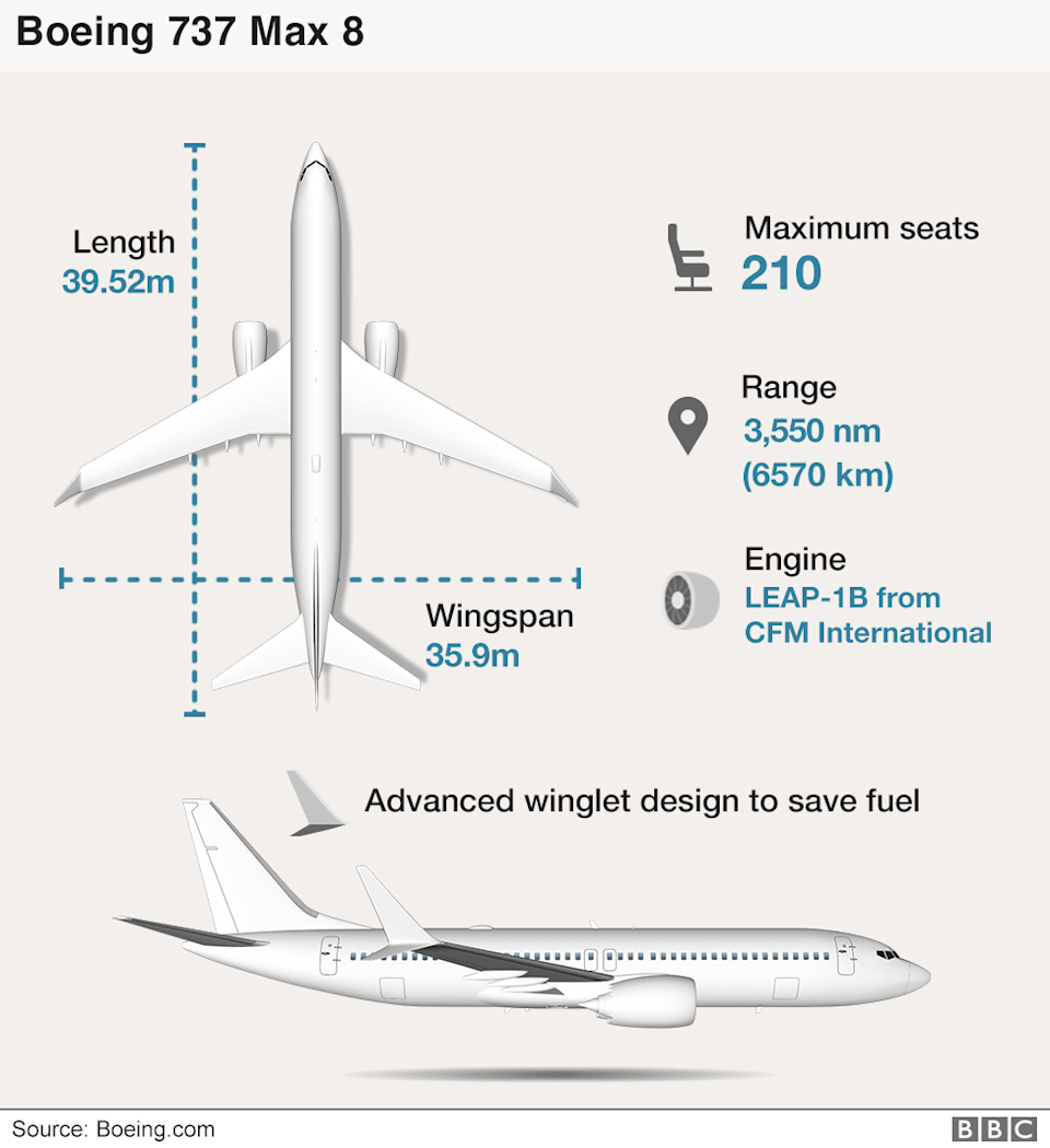 Infographic of the Boeing 737 Max 8