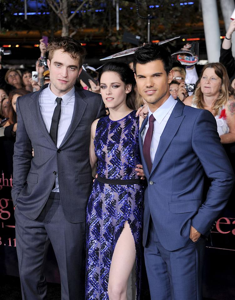 "<a href=""http://movies.yahoo.com/movie/contributor/1808623206"">Robert Pattinson</a>, <a href=""http://movies.yahoo.com/movie/contributor/1807776250"">Kristen Stewart</a> and <a href=""http://movies.yahoo.com/movie/contributor/1808598632"">Taylor Lautner</a> at the Los Angeles premiere of <a href=""http://movies.yahoo.com/movie/1810158314/info"">The Twilight Saga: Breaking Dawn - Part 1</a> on November 14, 2011."