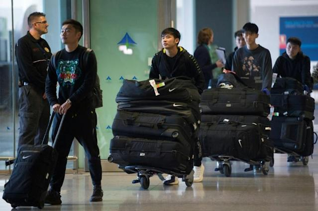 Wuhan Zall, the Chinese football team from the city at the centre of the outbreak, arrived at Malaga's Costa del Sol Airport on January 29 (AFP Photo/JORGE GUERRERO)