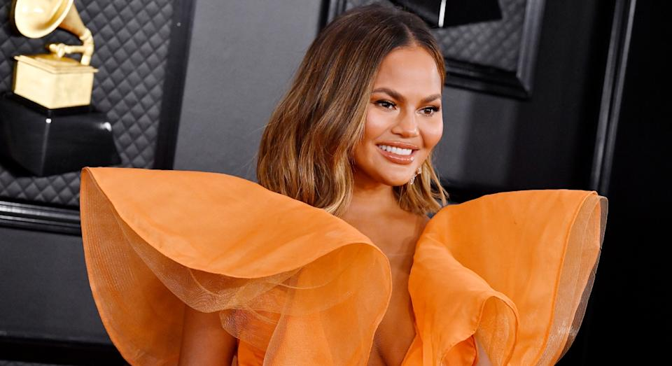 Chrissy Teigen at the Grammy Awards earlier this year (Getty)