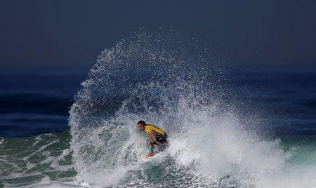Tyler Wright of Australia surfs during the women's World Surf League championship at Guincho beach in Cascais