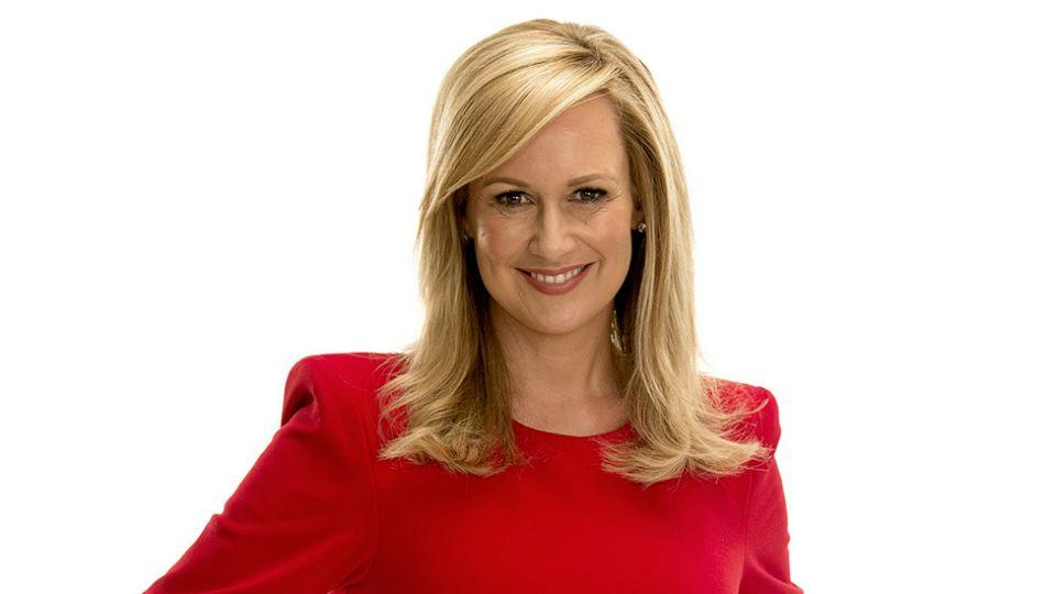 TV personality Melissa Doyle wearing a red dress in a promotional photo for Channel Seven
