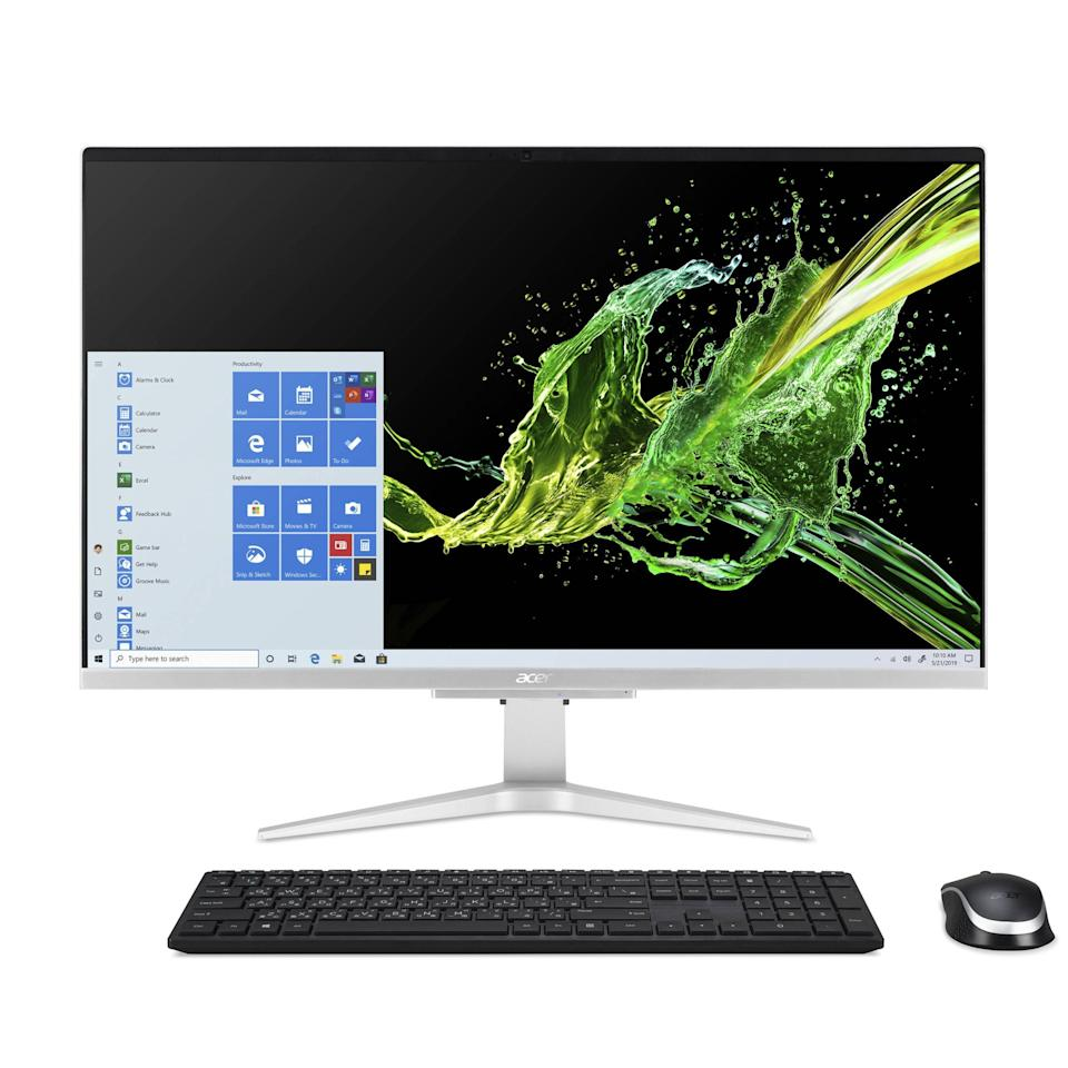 """<p><strong>Acer</strong></p><p>amazon.com</p><p><strong>$799.99</strong></p><p><a href=""""https://www.amazon.com/dp/B088HGGRV4?tag=syn-yahoo-20&ascsubtag=%5Bartid%7C2089.g.618%5Bsrc%7Cyahoo-us"""" rel=""""nofollow noopener"""" target=""""_blank"""" data-ylk=""""slk:Shop Now"""" class=""""link rapid-noclick-resp"""">Shop Now</a></p><p>The Acer Aspire C27 all-in-one desktop is our favorite under $1,000. It has an elegant design, robust hardware specs with NVIDIA graphics chip and upgradeable memory, and a performance to match. </p><p>In addition to impressively wide viewing angles, the big screen of the Aspire C27 has clever built-in tech to protect your eyes during prolonged use. It includes protection against harmful blue light, as well as flickering, but it isn't touch-sensitive.</p><p>The webcam of the Aspire C27 has a built-in privacy cover. However, we wish that it had a higher resolution than basic HD. The desktop's stereo speakers are also not on the same level as those of its HP rivals. </p><p>Acer also offers an <a href=""""https://www.amazon.com/dp/B088HFS3M5?tag=syn-yahoo-20&ascsubtag=%5Bartid%7C2089.g.618%5Bsrc%7Cyahoo-us"""" rel=""""nofollow noopener"""" target=""""_blank"""" data-ylk=""""slk:Aspire C24 all-in-one desktop"""" class=""""link rapid-noclick-resp"""">Aspire C24 all-in-one desktop</a> with the same design, but an even more compact footprint with a 24-inch display. It is not as capable hardware-wise, but it is considerably more affordable. </p><p><strong>CPU:</strong> 10th-generation Intel Core i5 (quad-core)<br><strong>Graphics:</strong> NVIDIA GeForce MX130 Graphics<br><strong>Display:</strong> 27-inch Full HD IPS display (1,920 by 1,080 pixels)<br><strong>Memory:</strong> 12GB of RAM; 512GB SSD<br><strong>Connectivity:</strong> Two USB-A 3.1 ports, two USB-A 2.0 ports, HDMI port<br><strong>Other:</strong> HD webcam, stereo speakers, bundled wireless keyboard and mouse</p>"""