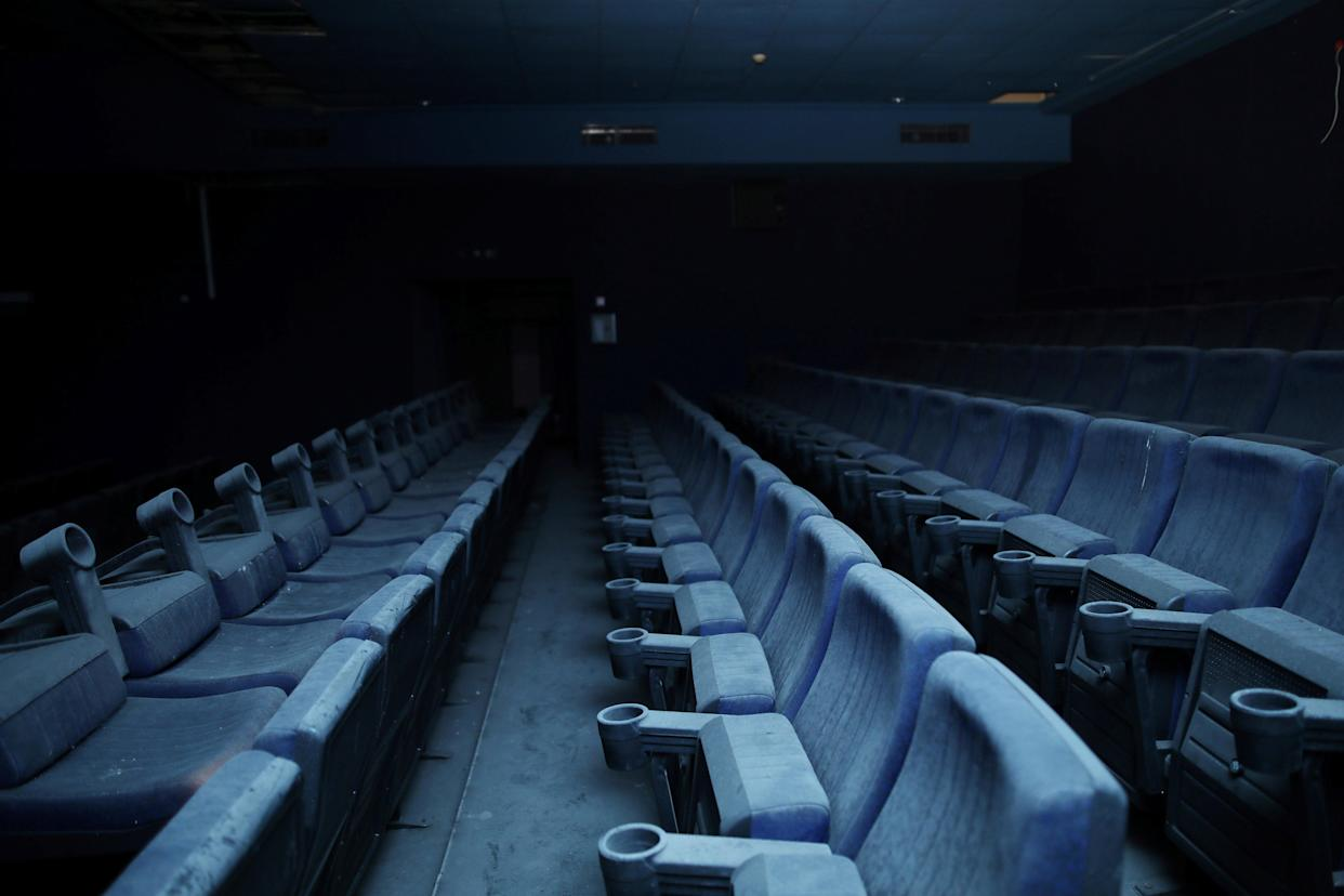 Seats inside an abandoned cinema in the basement of the Central Bus Station on Jan. 13. (Photo: Corinna Kern/Reuters)