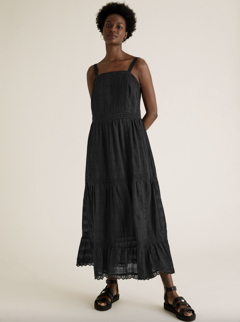 Pure Cotton Lace Insert Midaxi Smock Dress.  (Marks and Spencer)
