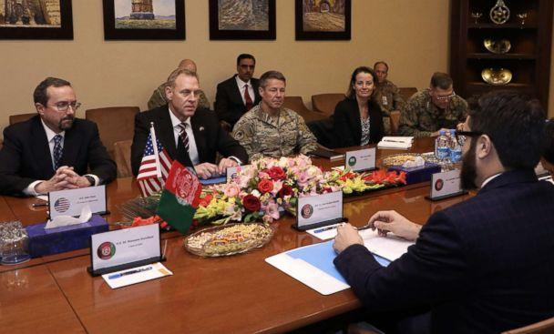 PHOTO: From left, U.S. Ambassador to Afghanistan John Bass, acting Defense Secretary Patrick Shanahan, and General Scott Miller, center right, meet with Afghan National Security Adviser Hamdullah Mohib, right, in Kabul, Afghanistan, Feb. 11, 2019. (Afghanistan's Government Media and Information Center via Getty Images)