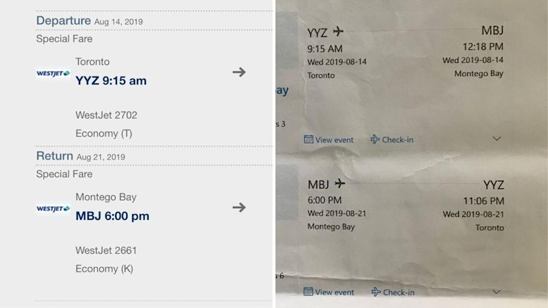 Left - flight itinerary pulled on Aug. 29. Right - original flight itinerary booked by the Collet family.