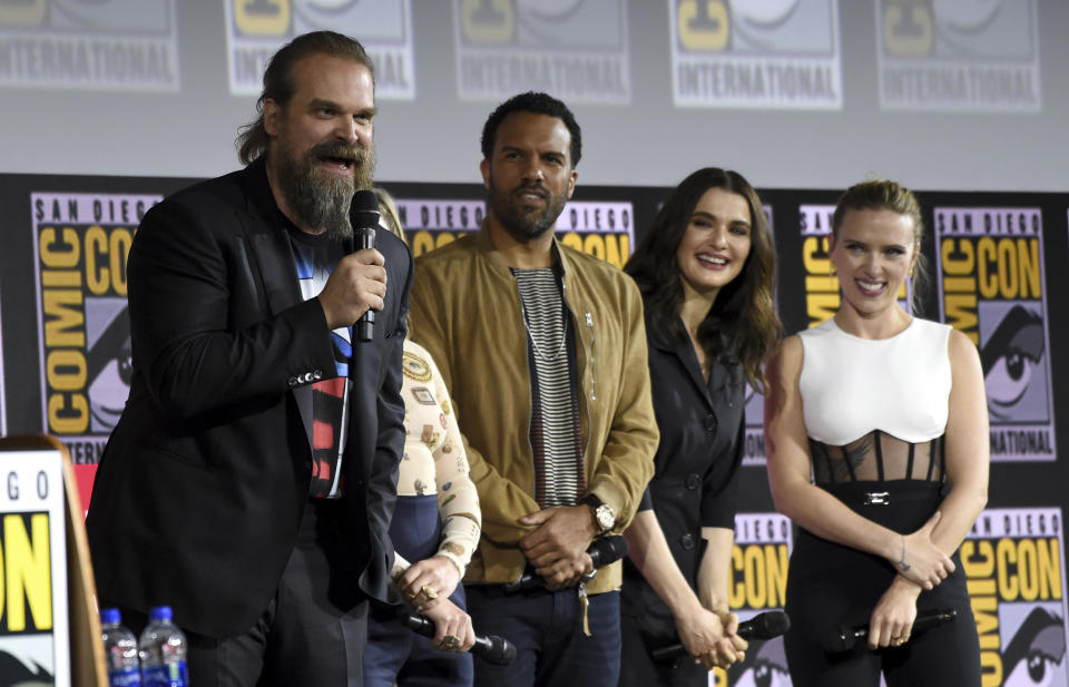 """David Harbour, from left, O. T. Fagbenle, Rachel Weisz and Scarlett Johansson participate during the """"Black Widow"""" portion of the Marvel Studios panel on day three of Comic-Con International on Saturday, July 20, 2019, in San Diego. (Photo by Chris Pizzello/Invision/AP)"""