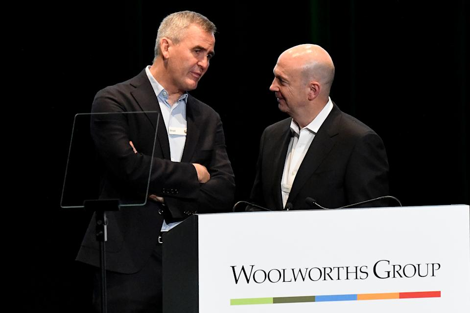 Woolworths CEO Brad Banducci (left) and Woolworths chairman Gordon Cairns are seen during the Woolworths Group AGM at the International Convention Centre in Sydney, Monday, December 16, 2019. (AAP Image/Bianca De Marchi)