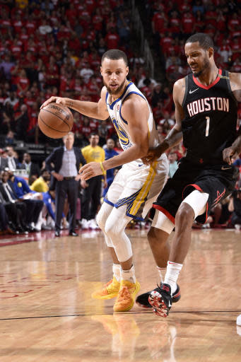 HOUSTON, TX - MAY 24: Stephen Curry #30 of the Golden State Warriors handles the ball against the Houston Rockets in Game Five of the Western Conference Finals during the 2018 NBA Playoffs on May 24, 2018 at the Toyota Center in Houston, Texas. (Photo by Bill Baptist/NBAE via Getty Images)