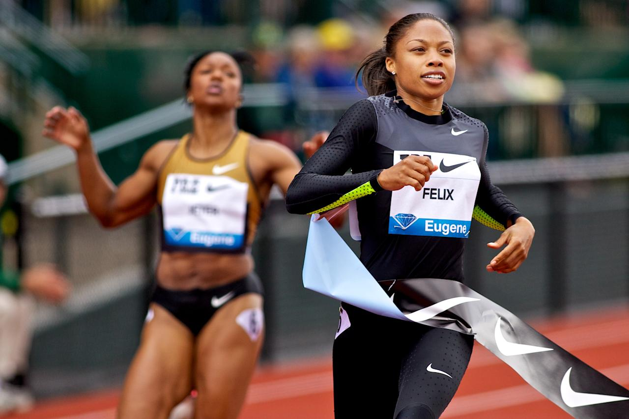 EUGENE, OR - JUNE 02:  Allyson Felix of the USA wins the 200m at the Samsung Diamond League Prefontaine Classic at Hayward Field on June 2, 2012 in Eugene, Oregon.  (Photo by Craig Mitchelldyer/Getty Images)