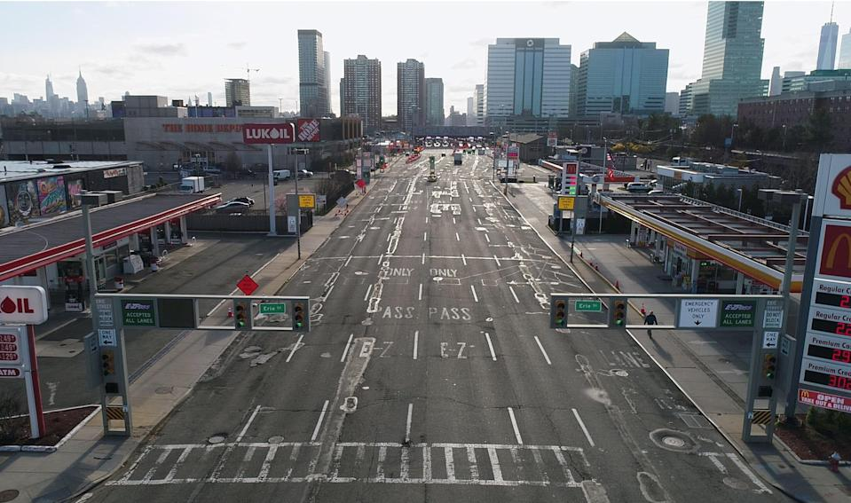A drone image shows a nearly empty entrance to the Holland Tunnel around 8:15 a.m. on April 1, 2020, in New York City.