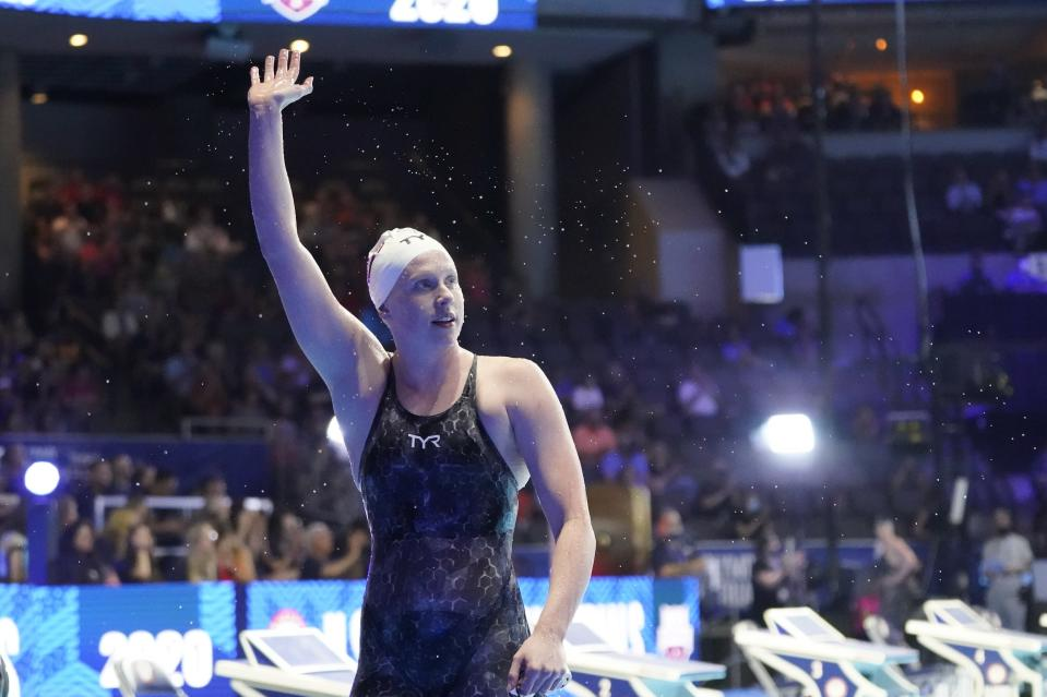 Lilly King reacts after winning her heat in the Women's 100 Breaststroke during wave 2 of the U.S. Olympic Swim Trials on Monday, June 14, 2021, in Omaha, Neb. (AP Photo/Jeff Roberson)