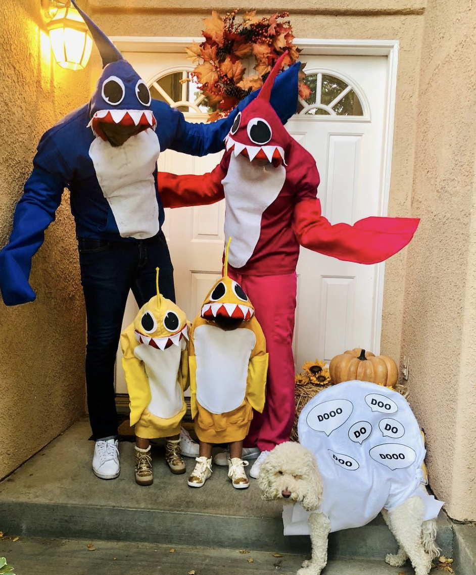 """<p>Everyone enjoys the Baby Shark song and dance, so you'll love these family-friendly costumes. Warning: Prepare to have these lyrics stuck in your head for days.</p><p><a class=""""link rapid-noclick-resp"""" href=""""https://www.amazon.com/Rubies-Adult-Mommy-Costume-Standard/dp/B07PWNFCLX?tag=syn-yahoo-20&ascsubtag=%5Bartid%7C10072.g.27868801%5Bsrc%7Cyahoo-us"""" rel=""""nofollow noopener"""" target=""""_blank"""" data-ylk=""""slk:SHOP SIMILAR"""">SHOP SIMILAR</a></p>"""