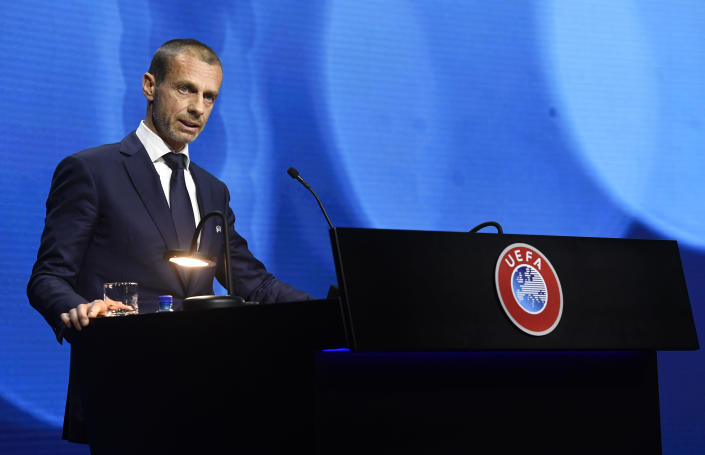 UEFA President Aleksander Ceferin speaks during the 45th UEFA Congress in Montreux, Switzerland, Tuesday April 20, 2021. Ceferin has directly appealed to the owners of English clubs in the Super League project to change their minds out of respect for soccer fans. Ceferin both cajoled and criticized the six-club English group made up of American billionaires, Arab royalty and a Russian oligarch. (Richard Juilliart/UEFA via AP)