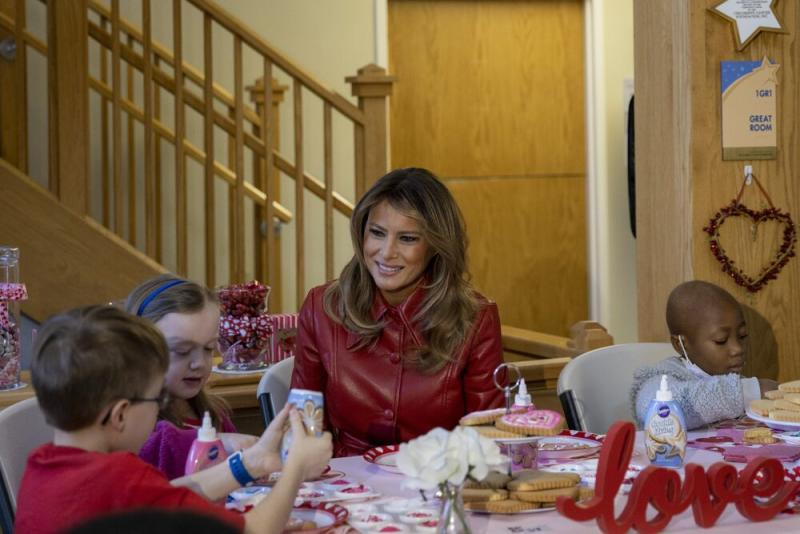 First Lady Melania Trump at the Children's Inn at the National Institutes of Health in Bethesda, Maryland, on Feb. 14.
