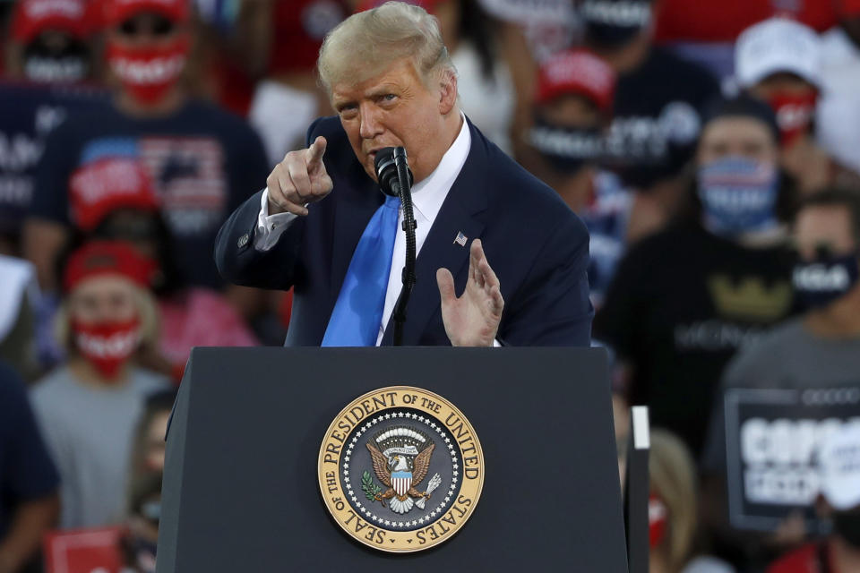 CARSON CITY, NV - OCTOBER 18: President Donald Trump gestures during a campaign rally on October 18, 2020 in Carson City, Nevada. With 16 days to go before the November election, President Trump is back on the campaign trail with multiple daily events as he continues to campaign against Democratic presidential nominee Joe Biden. (Photo by Stephen Lam/Getty Images)