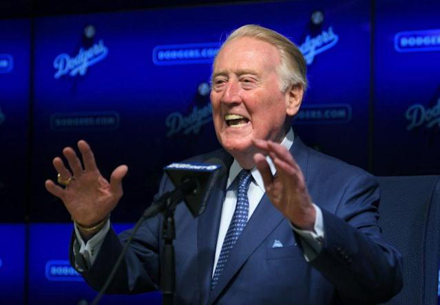 """Vin Scully, the legendary Dodgers announcer, will voice the """"Lincoln Portrait"""" next month. (AP)"""