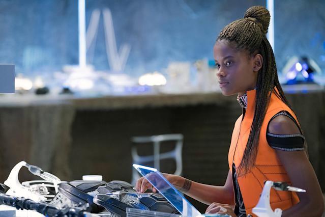 Letitia Wright as Shuri in her laboratory in <em>Black Panther</em> (Photo: Matt Kennedy/Marvel/Walt Disney Studios Motion Pictures/courtesy Everett Collection)