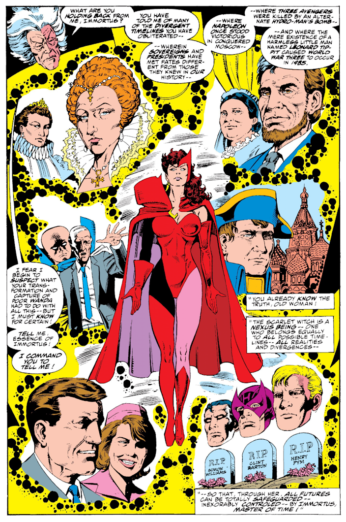 A page from Avengers West Coast #61 shows Scarlet Witch walking through Kirby Crackle as we learn she is a Nexus Being