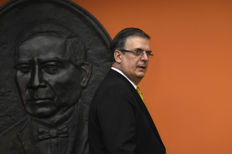 Mexican Foreign Minister Marcelo Ebrard arrives for a news conference at the Embassy of Mexico in Washington, Tuesday, Sept. 10, 2019. (AP Photo/Susan Walsh)