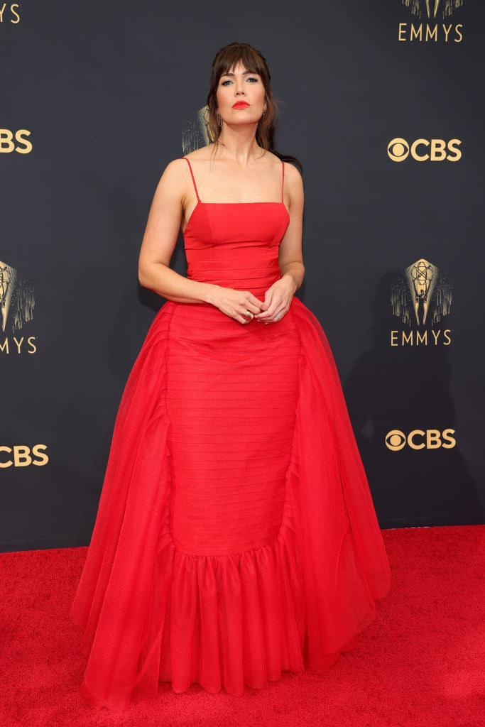 Mandy Moore on the red carpet in a red gown