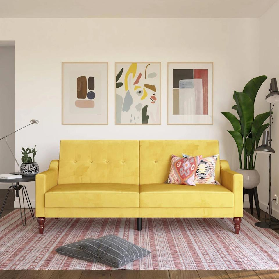 """<p>Be bold and get this vibrant <product href=""""https://www.target.com/p/beatrice-coil-futon-convertible-sofa-bed-couch-novogratz/-/A-80023479?preselect=79811269#lnk=sametab"""" target=""""_blank"""" class=""""ga-track"""" data-ga-category=""""Related"""" data-ga-label=""""https://www.target.com/p/beatrice-coil-futon-convertible-sofa-bed-couch-novogratz/-/A-80023479?preselect=79811269#lnk=sametab"""" data-ga-action=""""In-Line Links"""">Novogratz Beatrice Coil Futon Convertible Sofa</product> ($560) for your living room.</p>"""