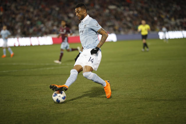 Sporting Kansas City forward Khiry Shelton (14) in the second half of an MLS soccer match Saturday, March 24, 2018, in Commerce City, Colo. The teams played to a 2-2 tie. (AP Photo/David Zalubowski)