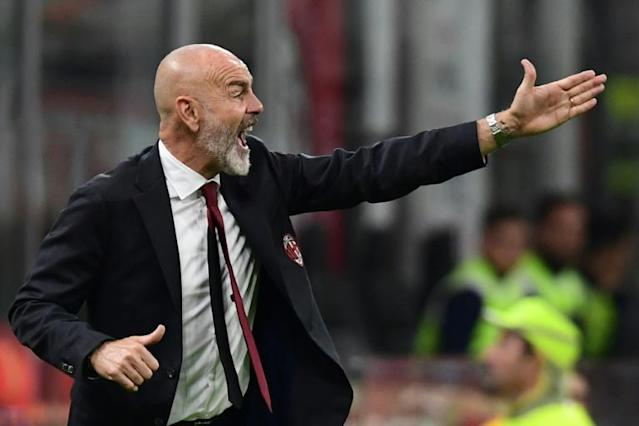 Stefano Pioli oversaw his first game as AC Milan coach against Lecce. (AFP Photo/Miguel MEDINA)