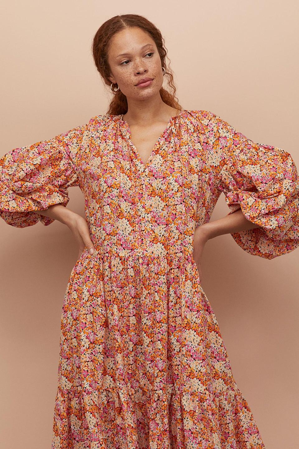 "<p>We have heart eyes for this <a href=""https://www.popsugar.com/buy/HampM-Balloon-sleeved-Cotton-Dress-575008?p_name=H%26amp%3BM%20Balloon-sleeved%20Cotton%20Dress&retailer=www2.hm.com&pid=575008&price=40&evar1=fab%3Aus&evar9=47589535&evar98=https%3A%2F%2Fwww.popsugar.com%2Ffashion%2Fphoto-gallery%2F47589535%2Fimage%2F47590088%2FHM-Balloon-sleeved-Cotton-Dress&list1=shopping%2Cdresses%2Csummer%2Csummer%20fashion%2Cfashion%20shopping&prop13=mobile&pdata=1"" class=""link rapid-noclick-resp"" rel=""nofollow noopener"" target=""_blank"" data-ylk=""slk:H&amp;M Balloon-sleeved Cotton Dress"">H&amp;M Balloon-sleeved Cotton Dress</a> ($40).</p>"