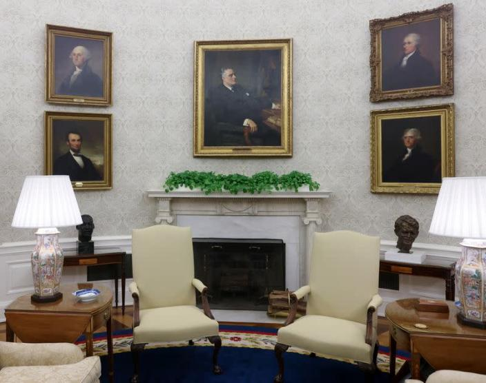 A general view shows President Biden's redecorated Oval Office at the White House in Washington