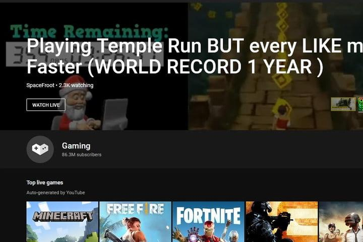 YouTube Gaming channel screenshot