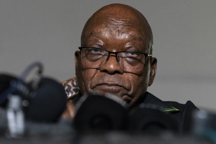 FILE - In this Sunday, July 4, 2021 file photo, former President Jacob Zuma addresses the press at his home in Nkandla, KwaZulu-Natal Province, South Africa. Zuma left his home to hand himself over to authorities to serve a 15-month prison term Wednesday, July 7, 2021. (AP Photo/Shiraaz Mohamed, File)