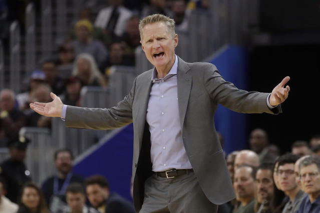 Golden State Warriors coach Steve Kerr gestures during the second half of the team's NBA basketball game against the Chicago Bulls in San Francisco, Wednesday, Nov. 27, 2019. (AP Photo/Jeff Chiu)