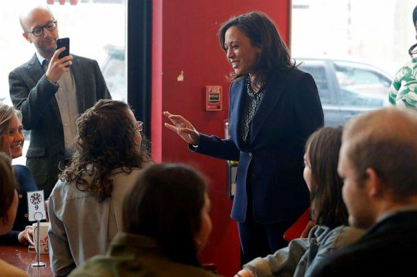 PHOTO: 2020 Democratic presidential candidate Sen. Kamala Harris speaks to students at a local cafe, April 11, 2019, in Des Moines, Iowa. (Charlie Neibergall/AP)