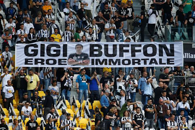 Soccer Football - Serie A - Juventus vs Hellas Verona - Allianz Stadium, Turin, Italy - May 19, 2018 Fans display a banner in reference to Juventus' Gianluigi Buffon before the match REUTERS/Stefano Rellandini