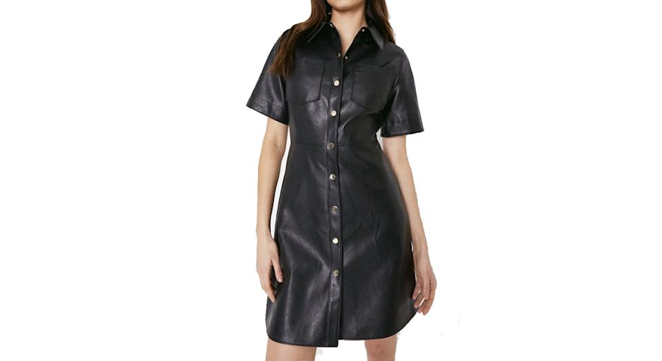 Faux Leather Short Sleeve Shirt Dress