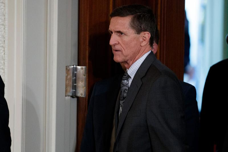 Mike Flynn arrives for a news conference in the East Room of the White House in Washington. Flynn's attorney says the former national security. - Copyright 2017 The Associated Press. All rights reserved.