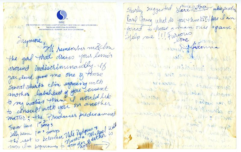This image provided by the Rock and Roll Hall of Fame and Museum shows a letter written to Seymour Stein by Madonna. In years gone by, penmanship helped distinguish the literate from the illiterate. But now, in the digital age, people are increasingly communicating by computer and smartphone. No handwritten signature necessary. (AP Photo/Rock and Roll Hall of Fame and Museum)