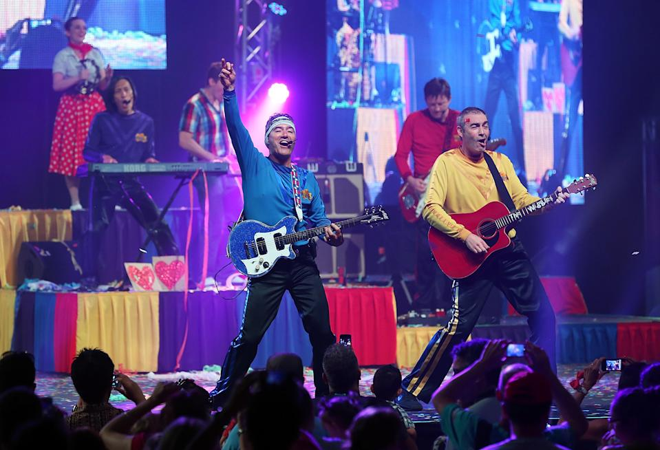 Jeff Fatt, Anthony Field, Greg Page and Murray Cook of The Wiggles perform on stage during The Wiggles Celebration Tour at Sydney Entertainment Centre on December 23, 2012 in Sydney, Australia. This concert is the final time the original members of The Wiggles will perform on stage together as Greg, Murray and Jeff are retiring.