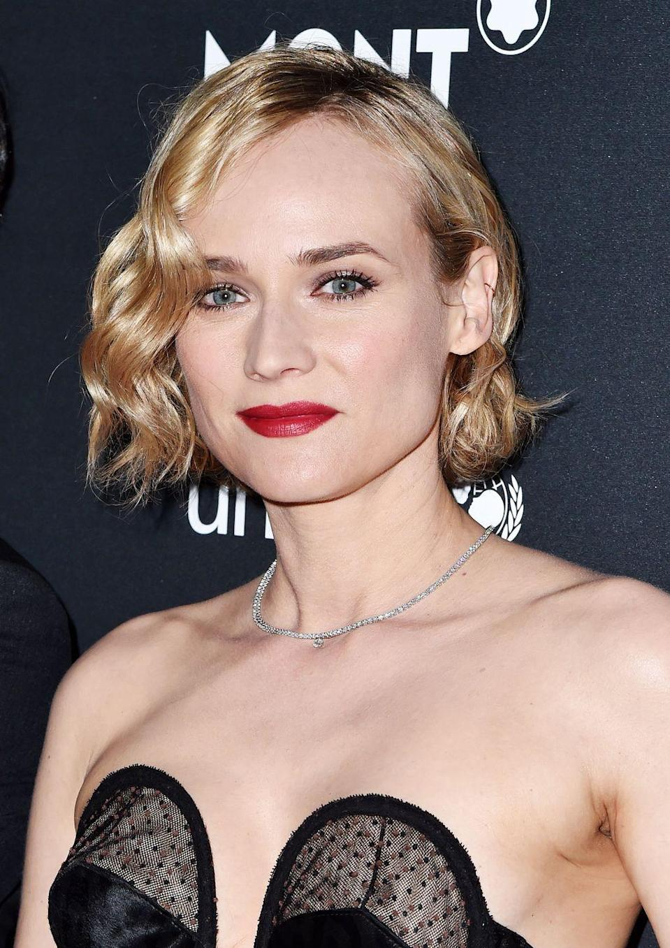 <p>We're feeling serious Roxie Hart vibes from Diane Kruger's 20s style bob.</p>