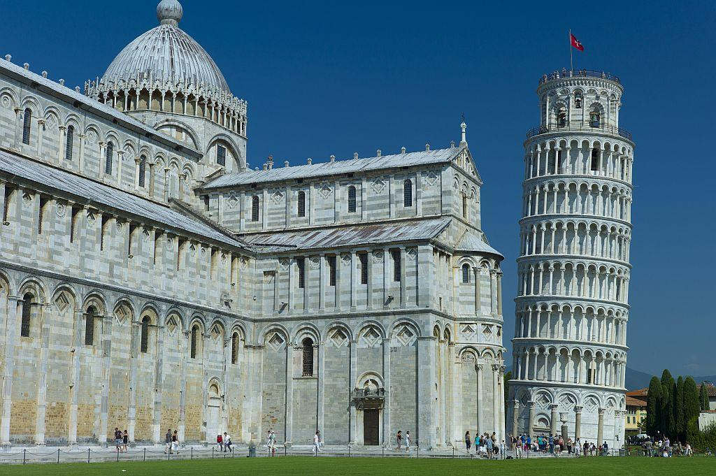The Leaning Tower of Pisa and the Cathedral of Santa Maria in Pisa, Italy